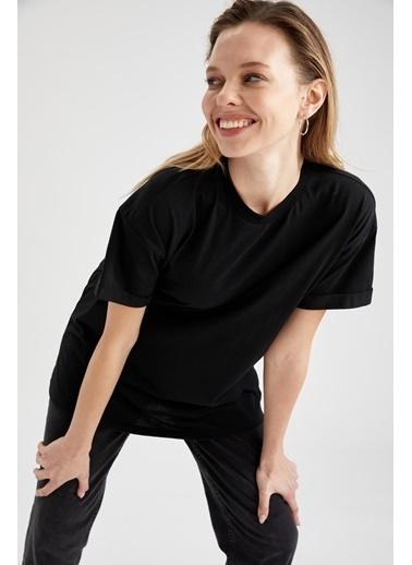 DeFacto Oversize Kısa Kollu Tişört Siyah